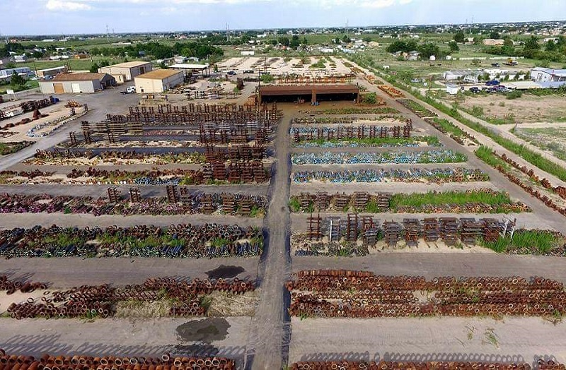 Aerial view of inventory yard